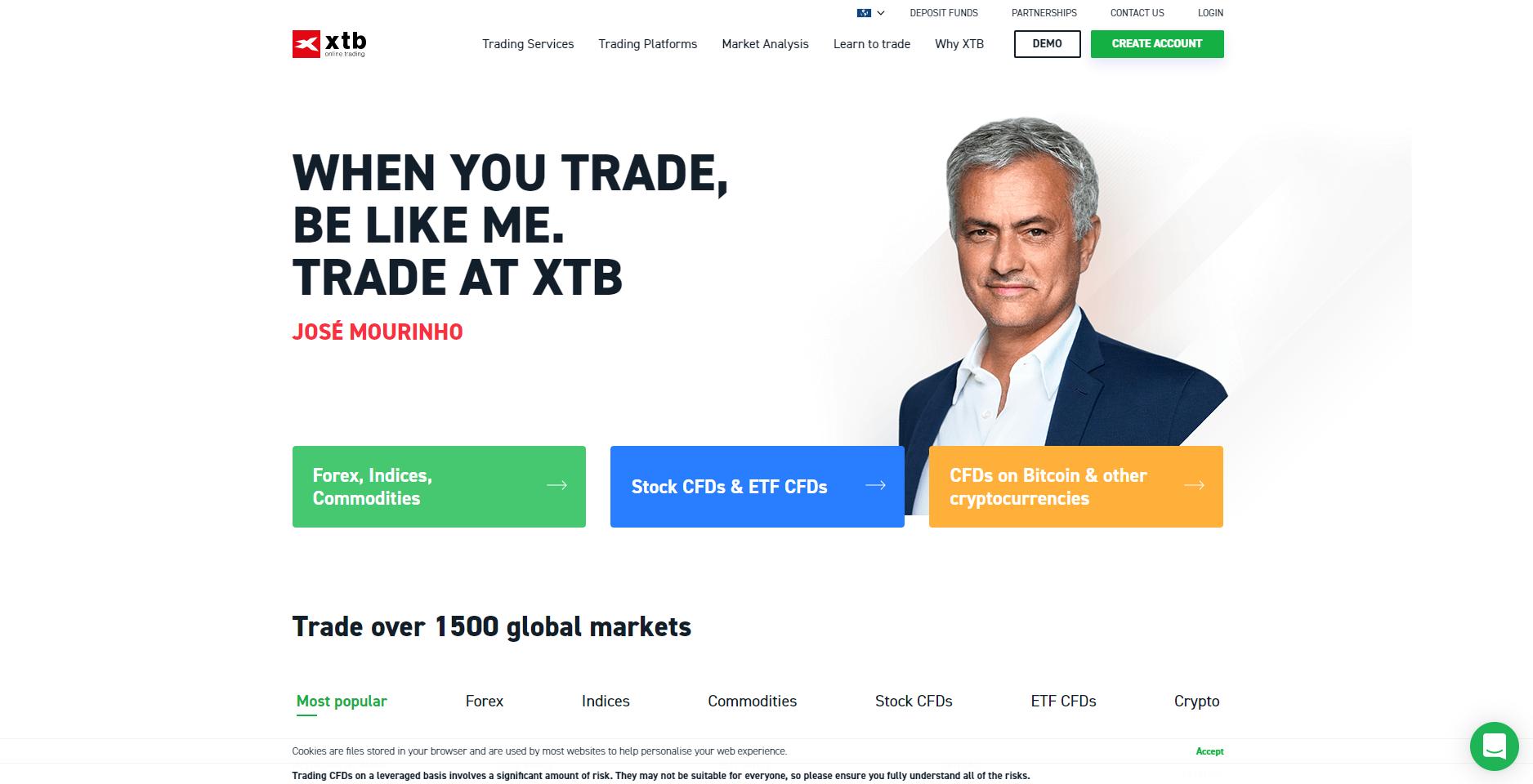 Az XTB hivatalos honlapja