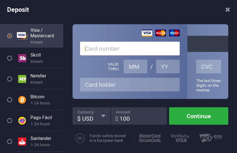 prelevare bitcoin deposito minimo iq option