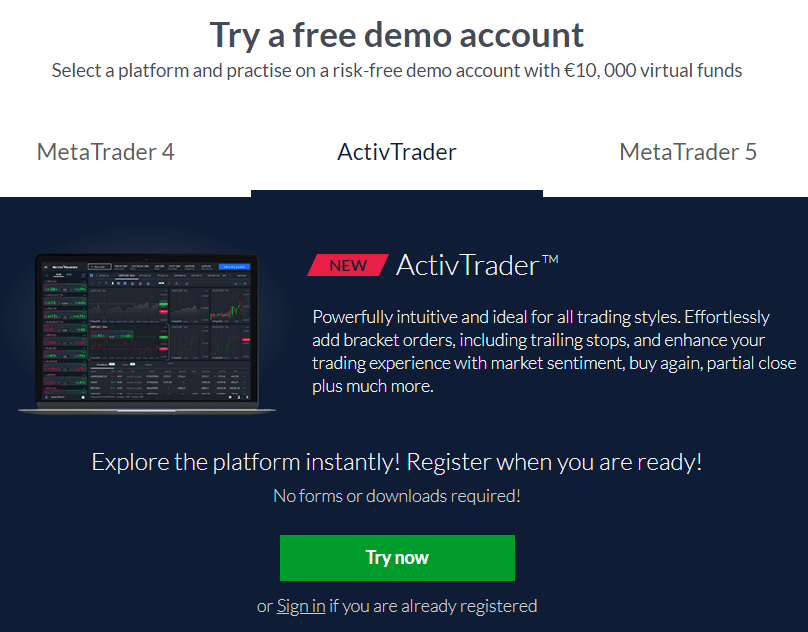 Free demo account with ActivTrades
