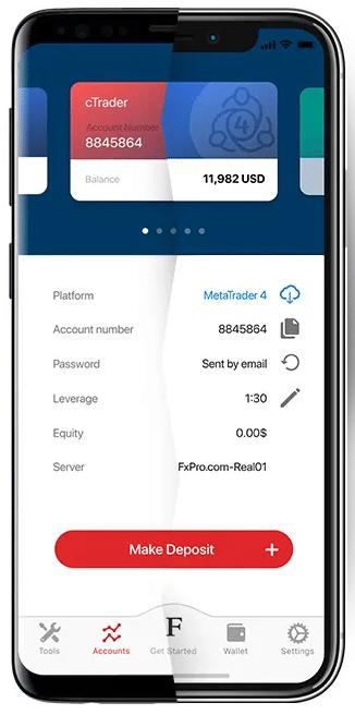 あなたの携帯電話にFxPro cTraderを使用して預金を行います