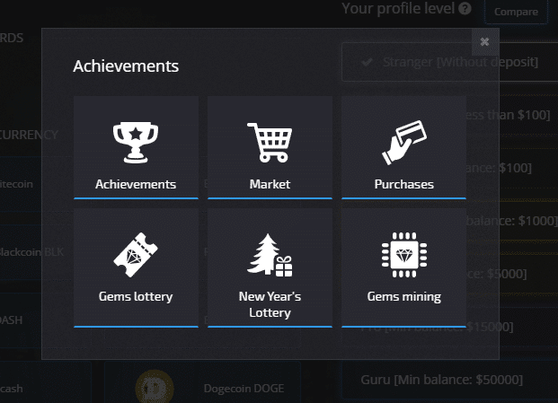 Pocket Option Achievments and Special offers