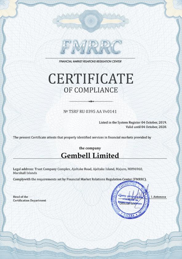 Pocket Option regulation FMRRC certificate of compliance