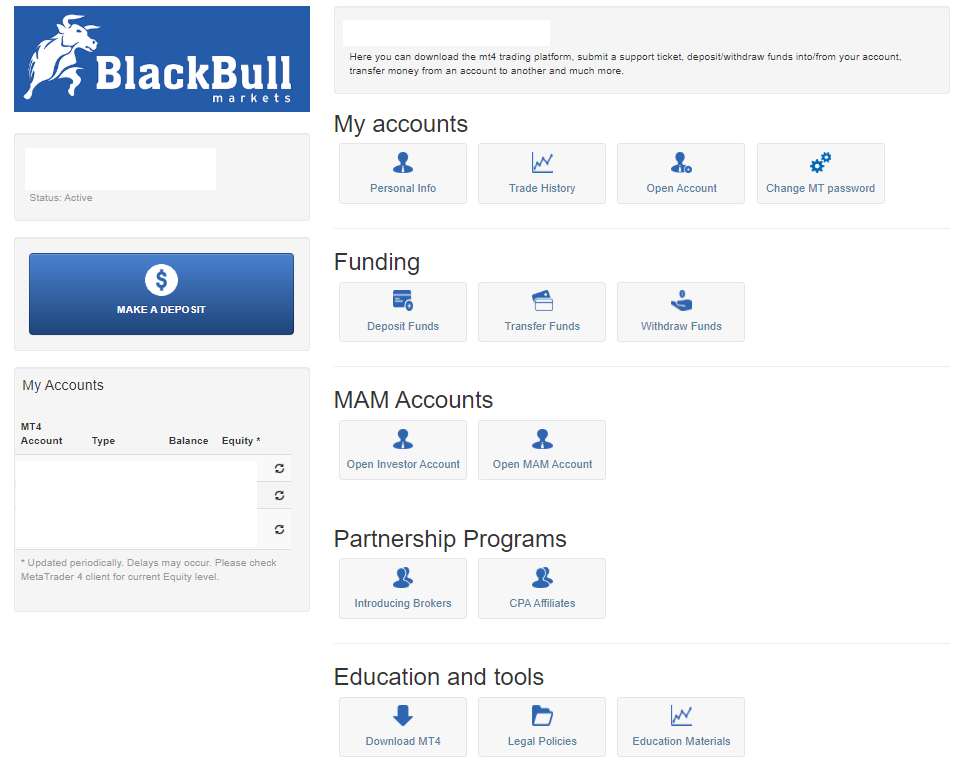 BlackBull Markets account dashboard