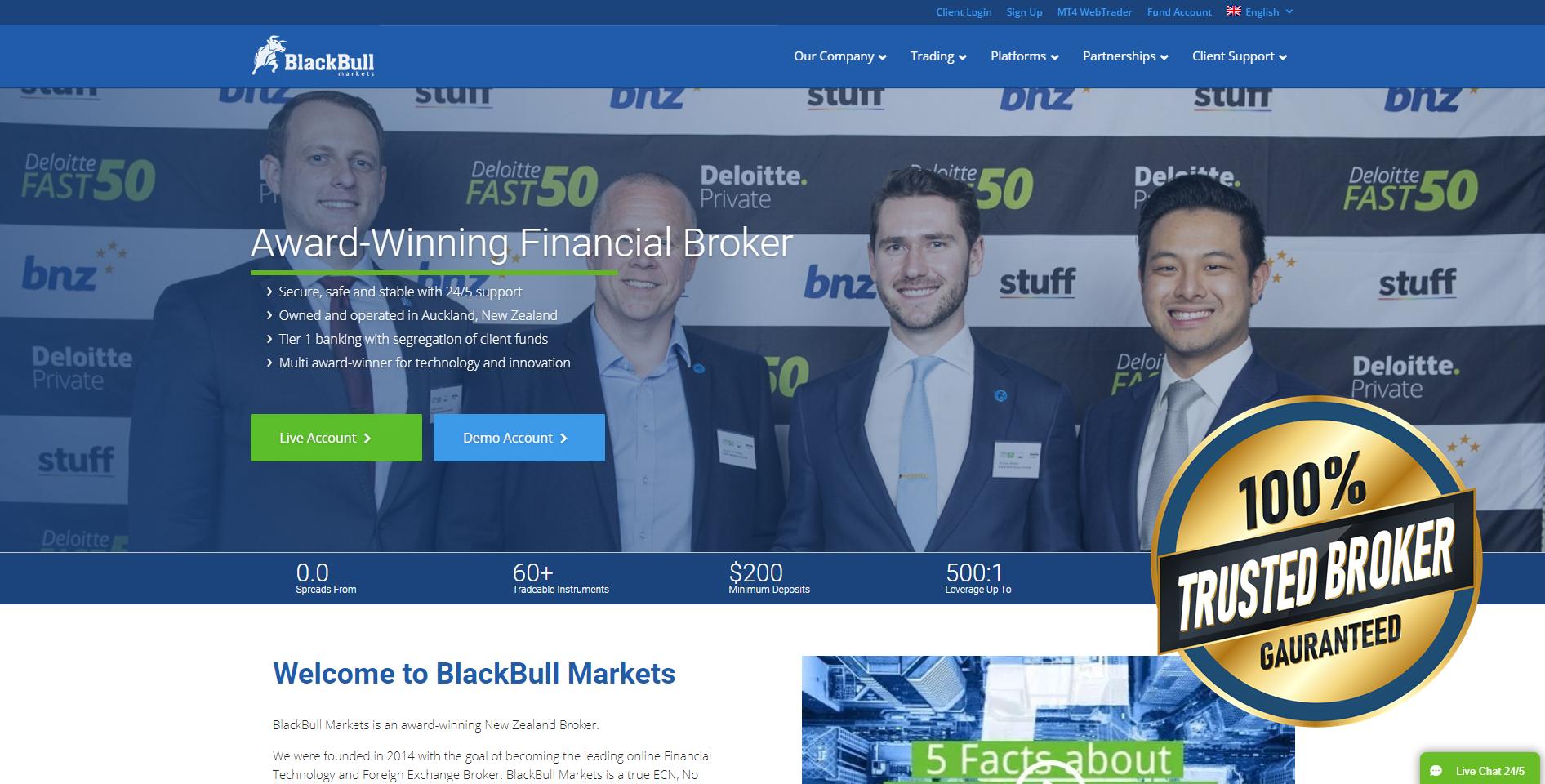 Site oficial da BlackBull Markets