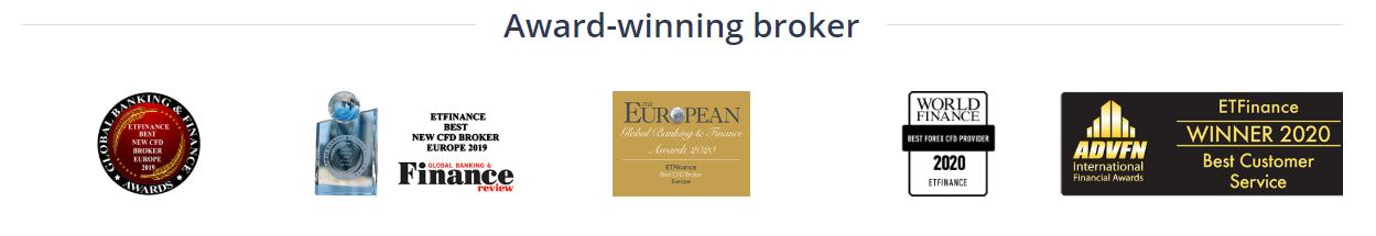 ETFinanceは受賞歴のあるブローカーです