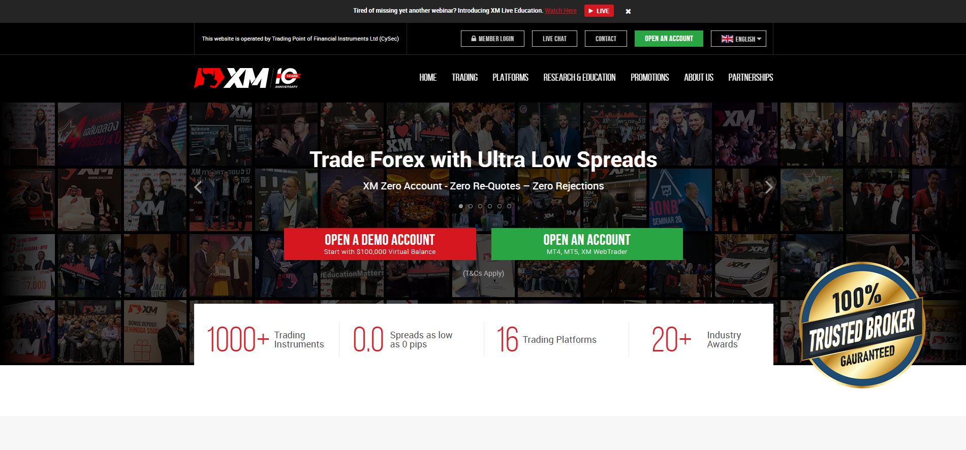 The official website of the Forex Broker XM