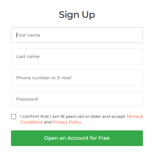 Account sign up form