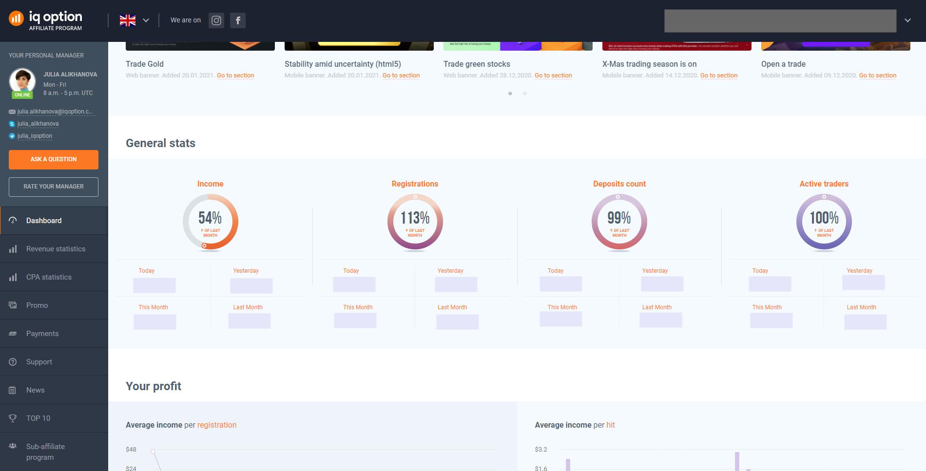Dashboard of the IQ Option affiliate program