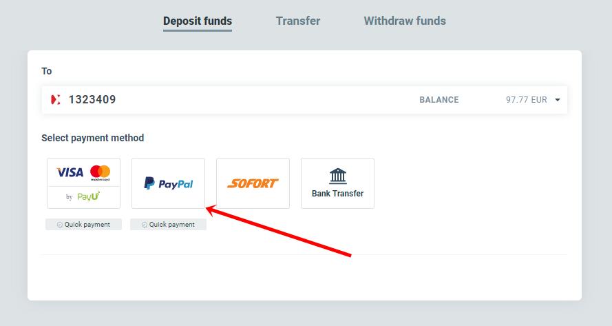 Депозит с PayPal