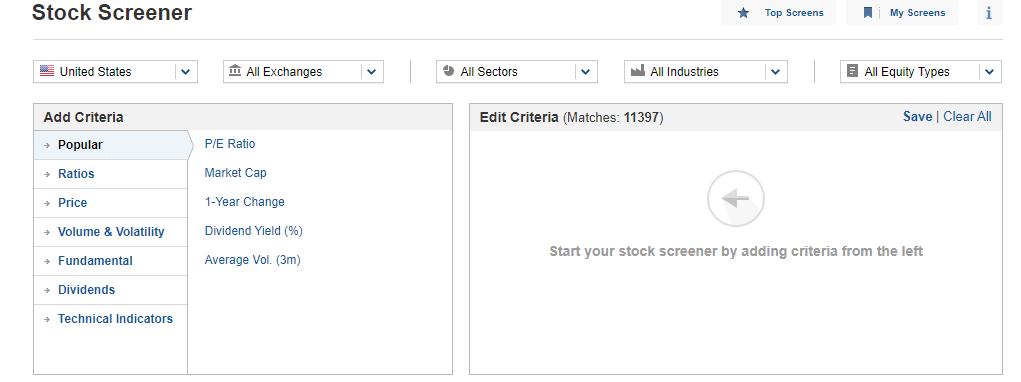 Investing.com készlet szűrő