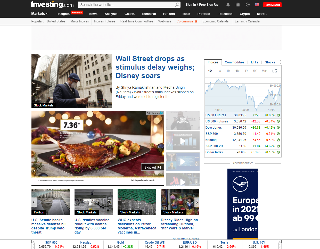 Investing.com honlapja