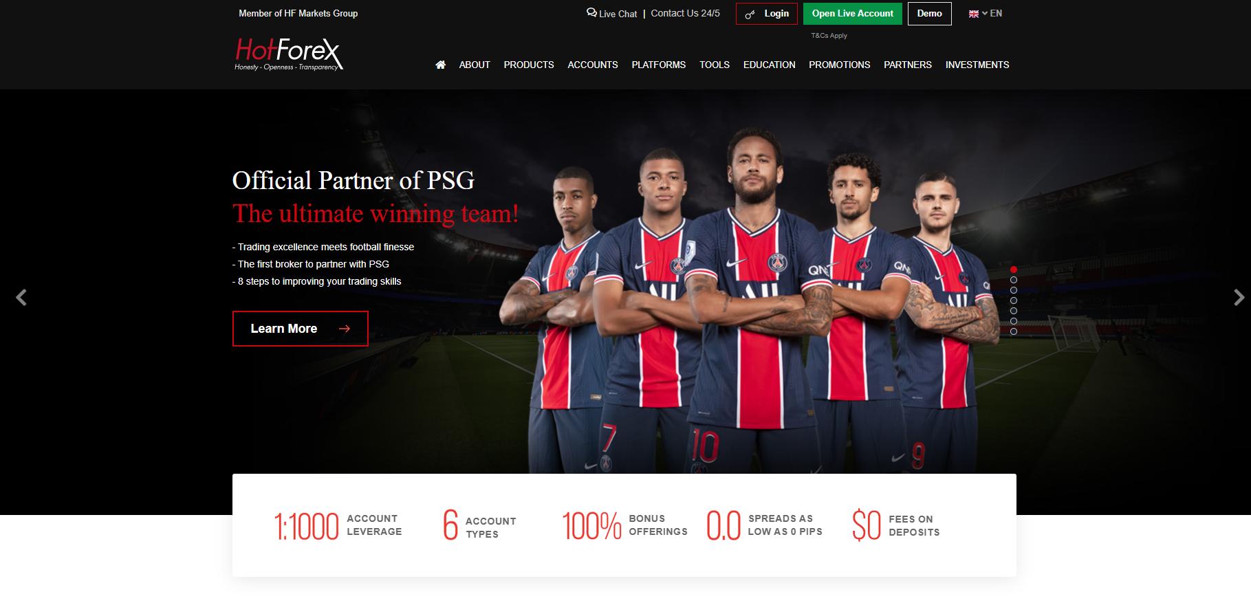 A HotForex hivatalos honlapja
