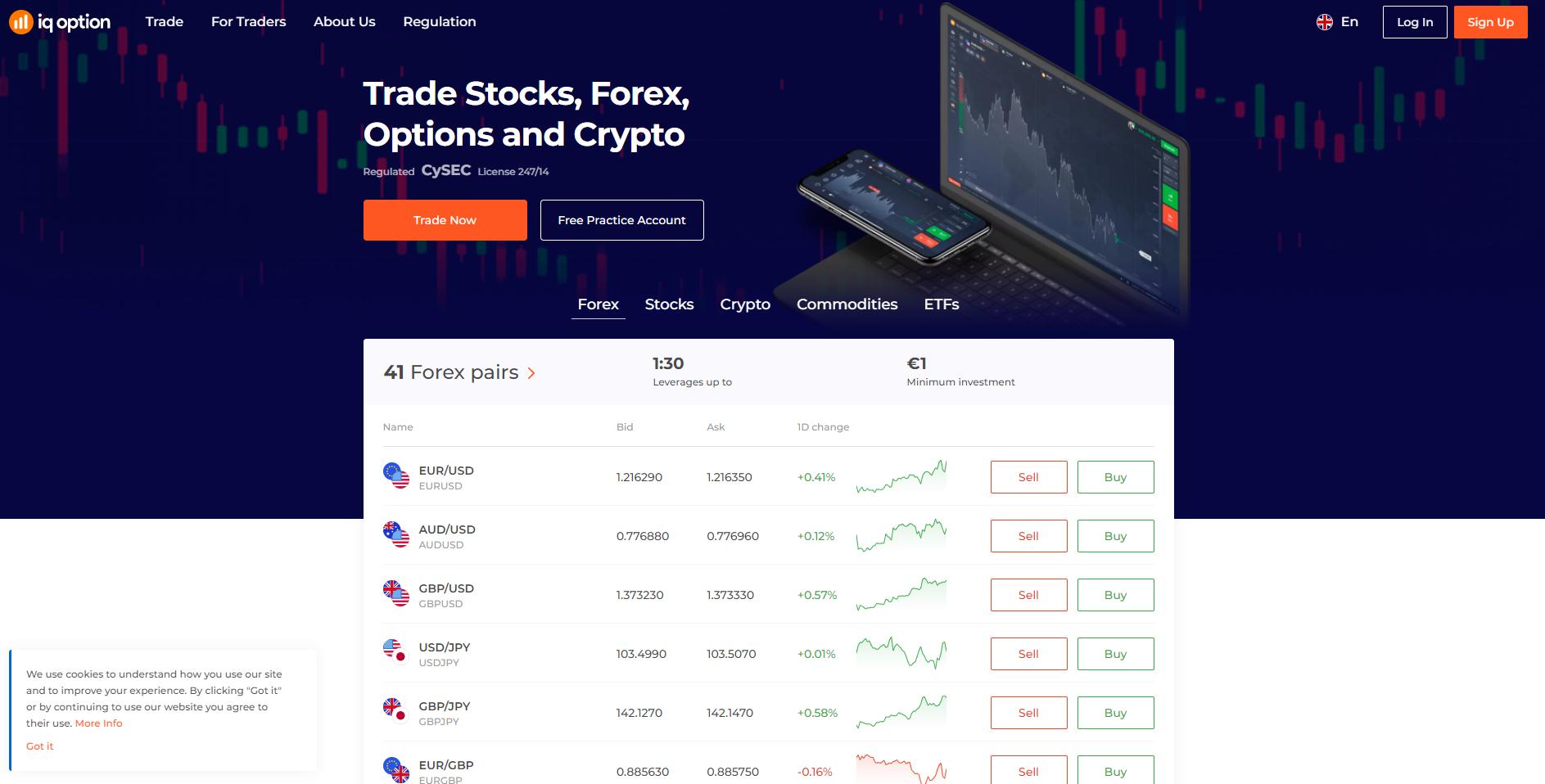 Official website of the broker IQ Option