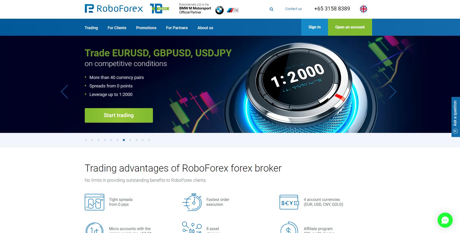 RoboForex website