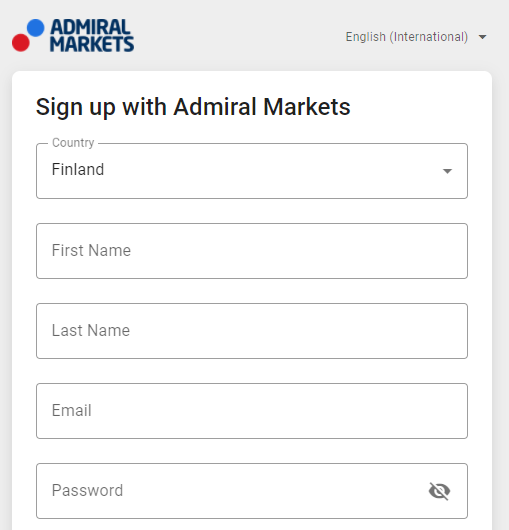 Sign up with Admiral Markets