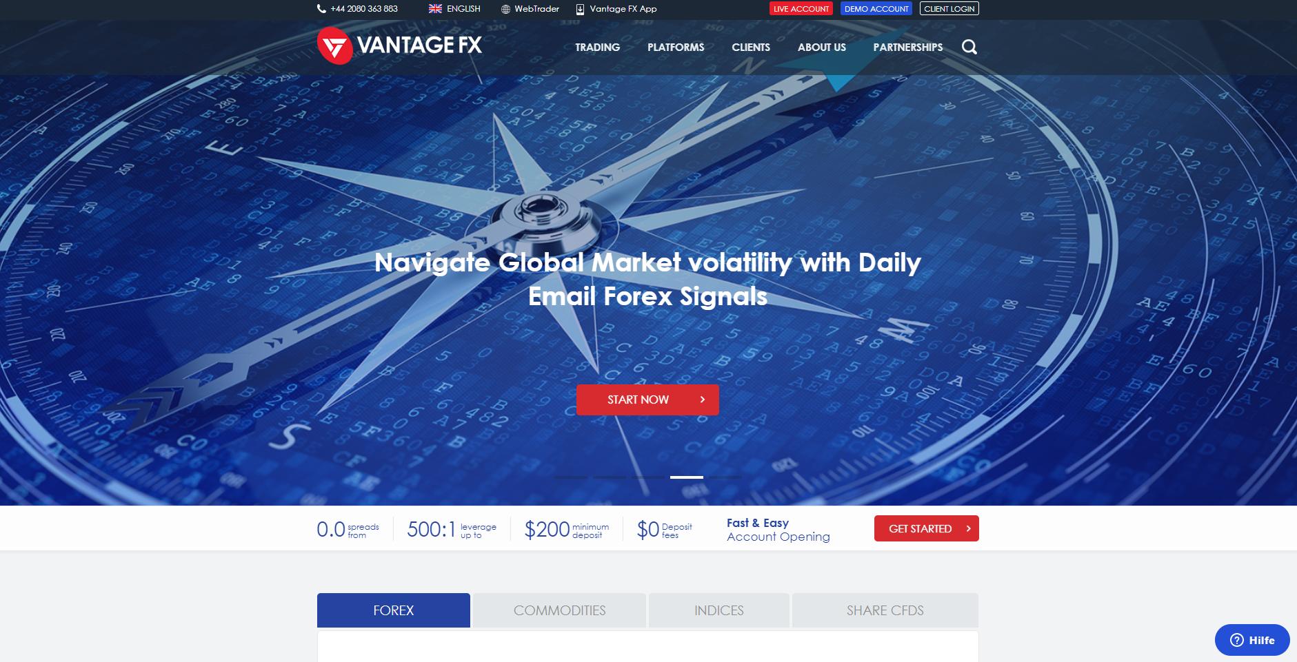 Vantage FX website