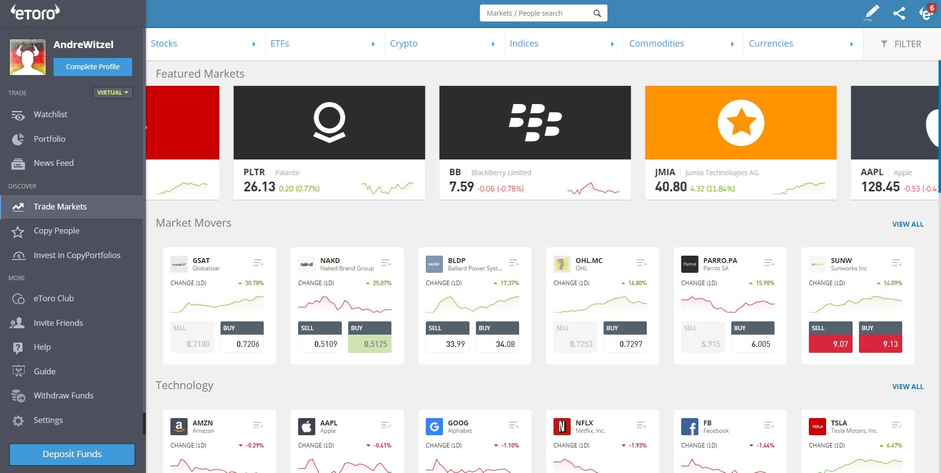 Легкая навигация и более 2000 рынков с Etoro