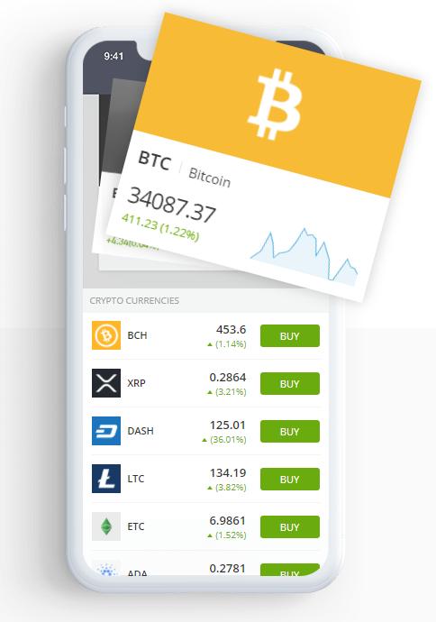 Мобильное криптовалютное приложение Etoro