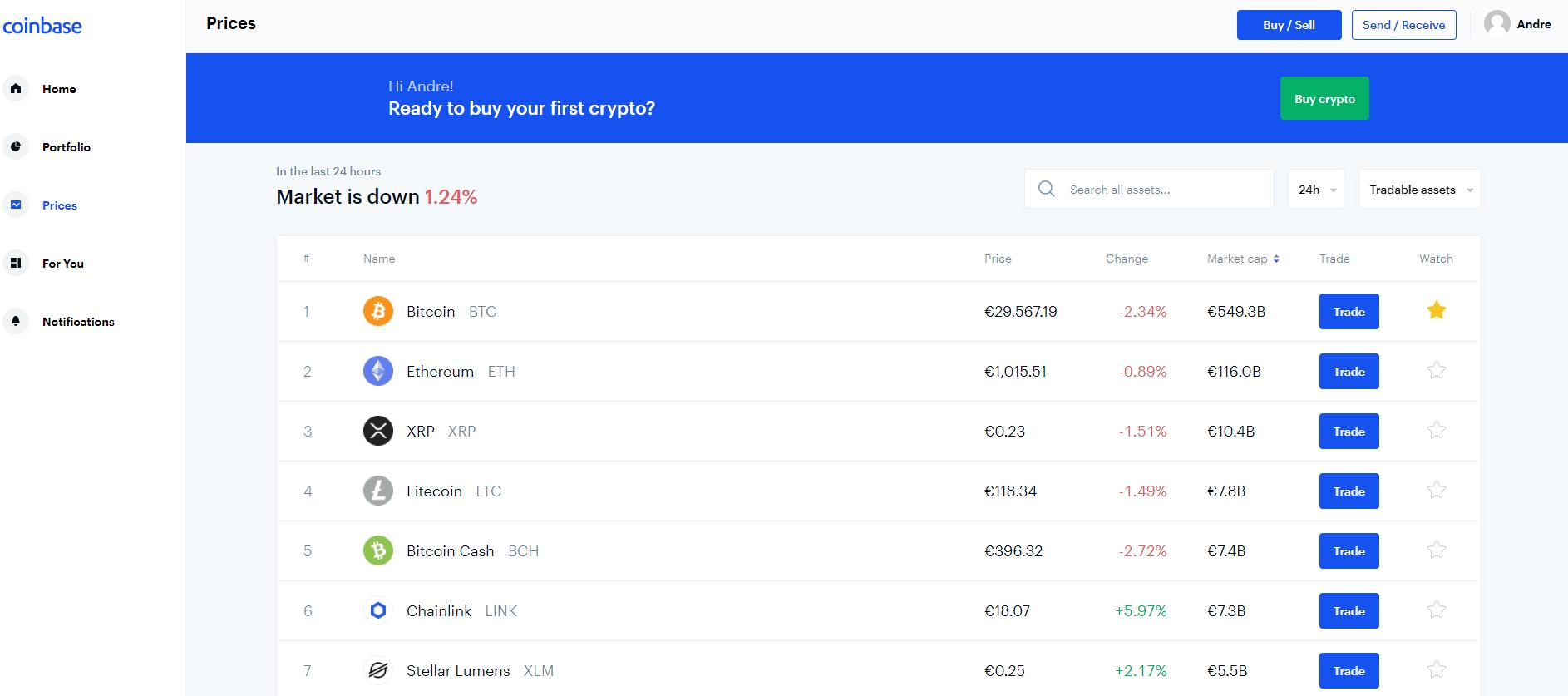 Normál Coinbase kereskedési platform