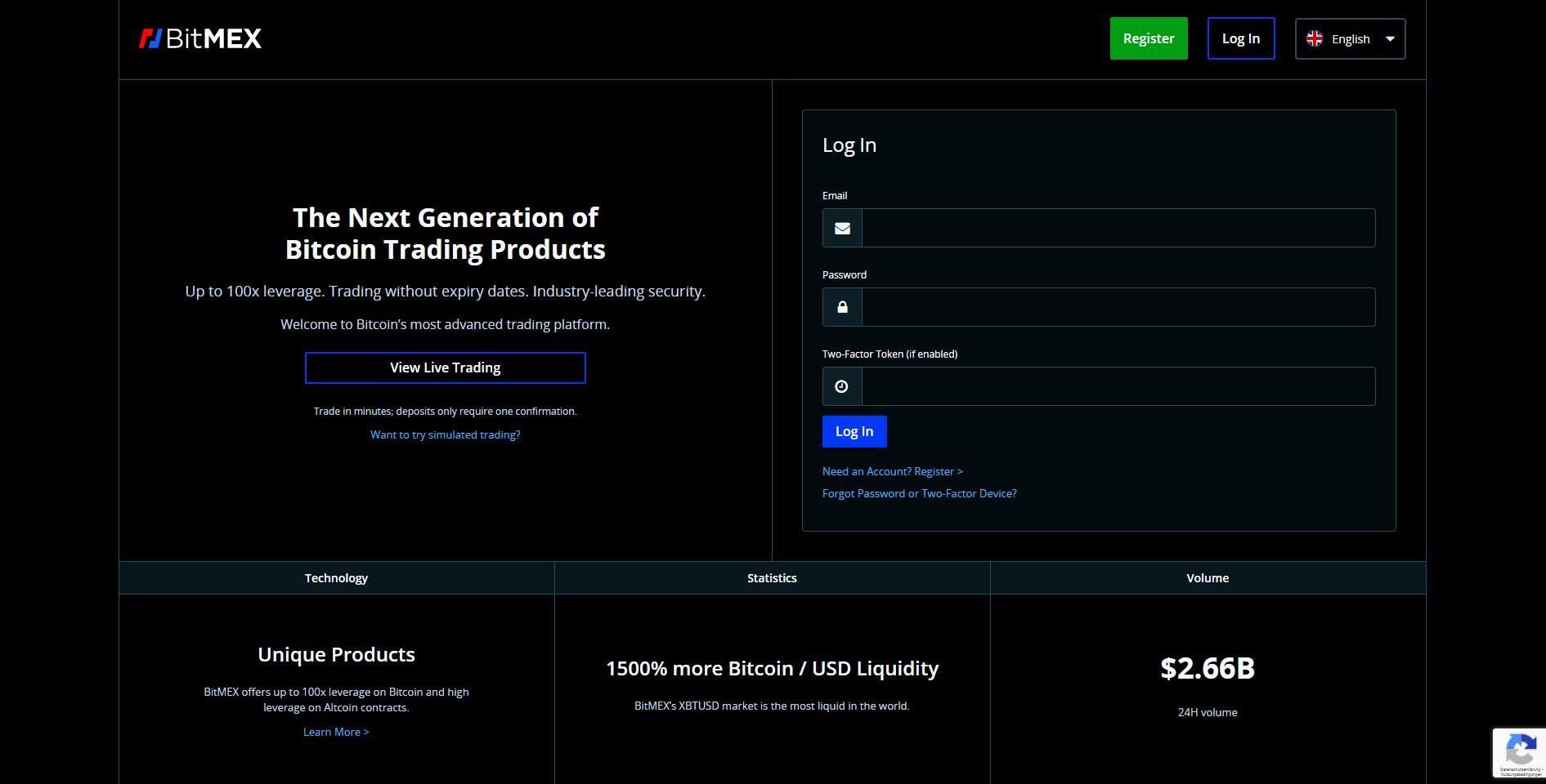 Official website of BitMEX