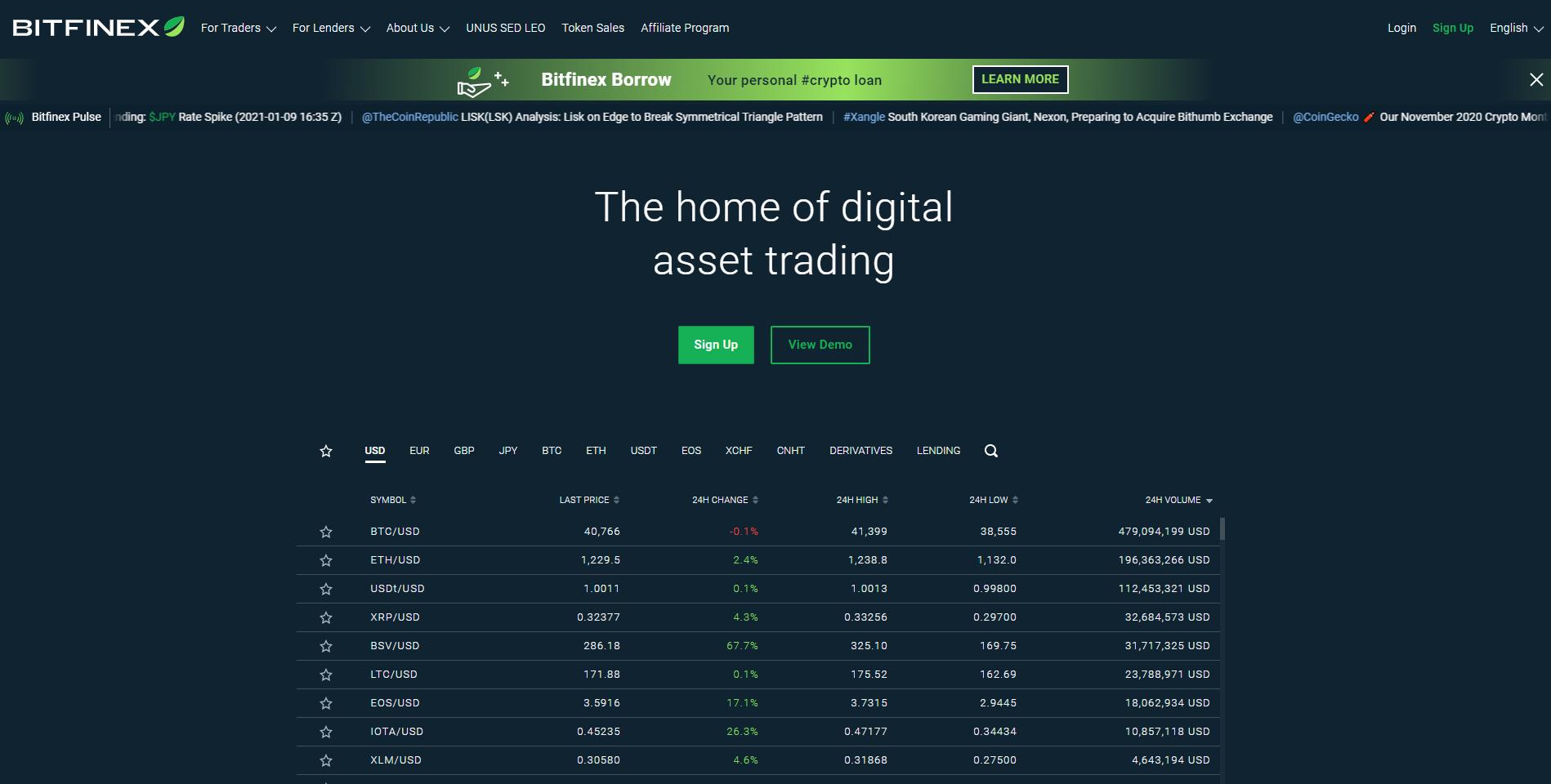 Oficiální stránky Bitfinexu