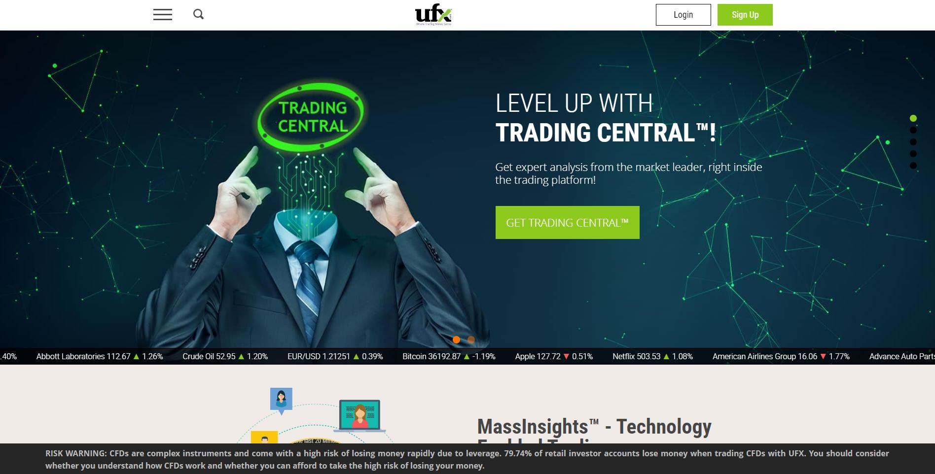 Официальный сайт брокера UFX