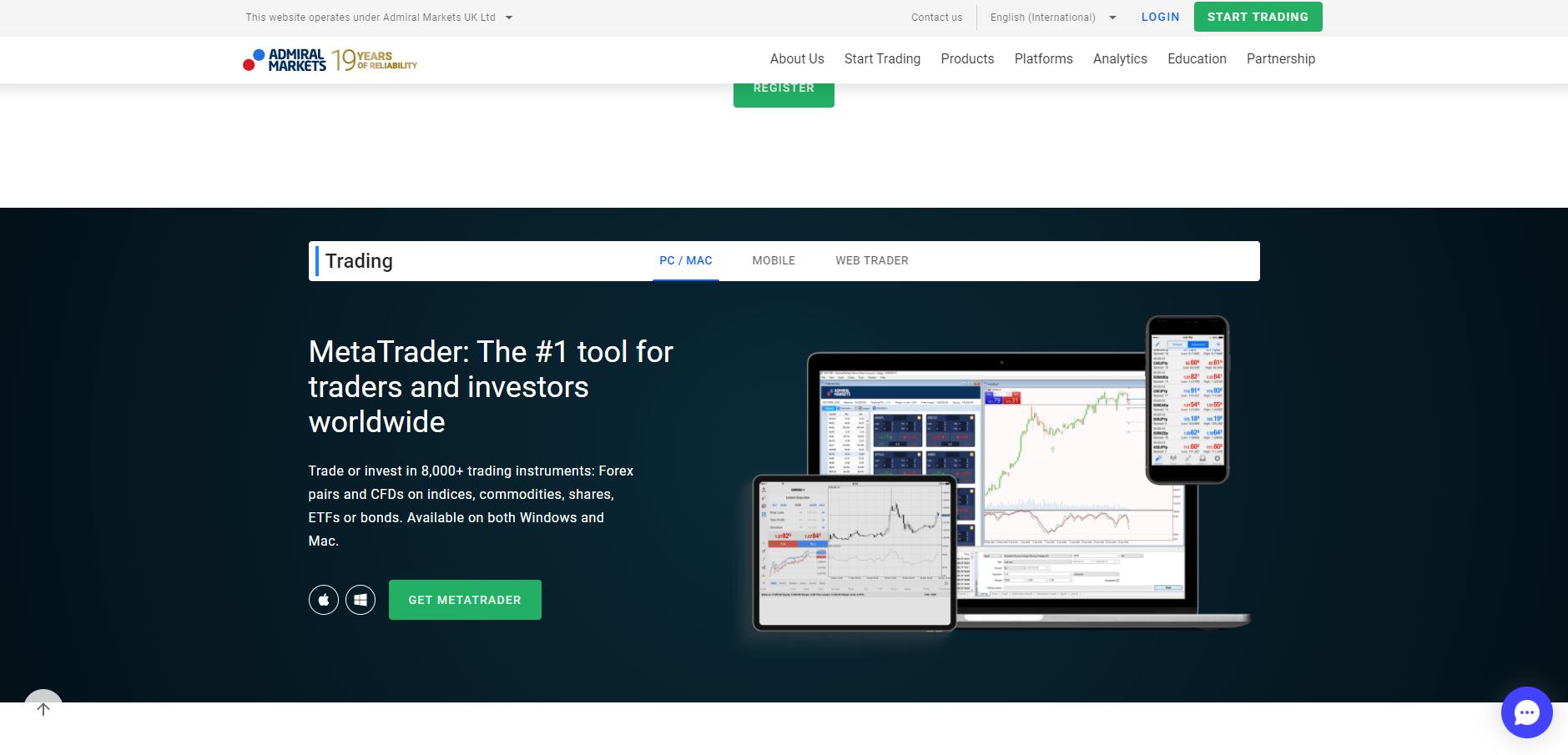 Official website of the forex platform Admiral Markets