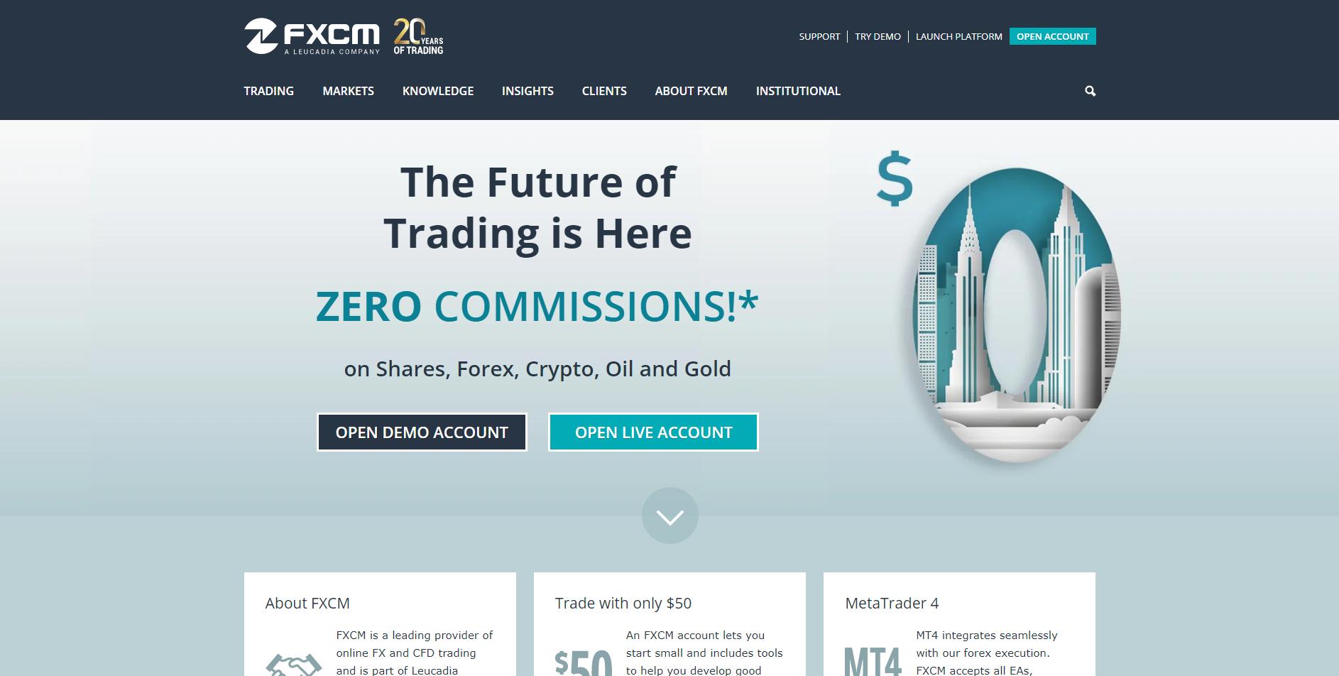 Official website of the forex platform FXCM