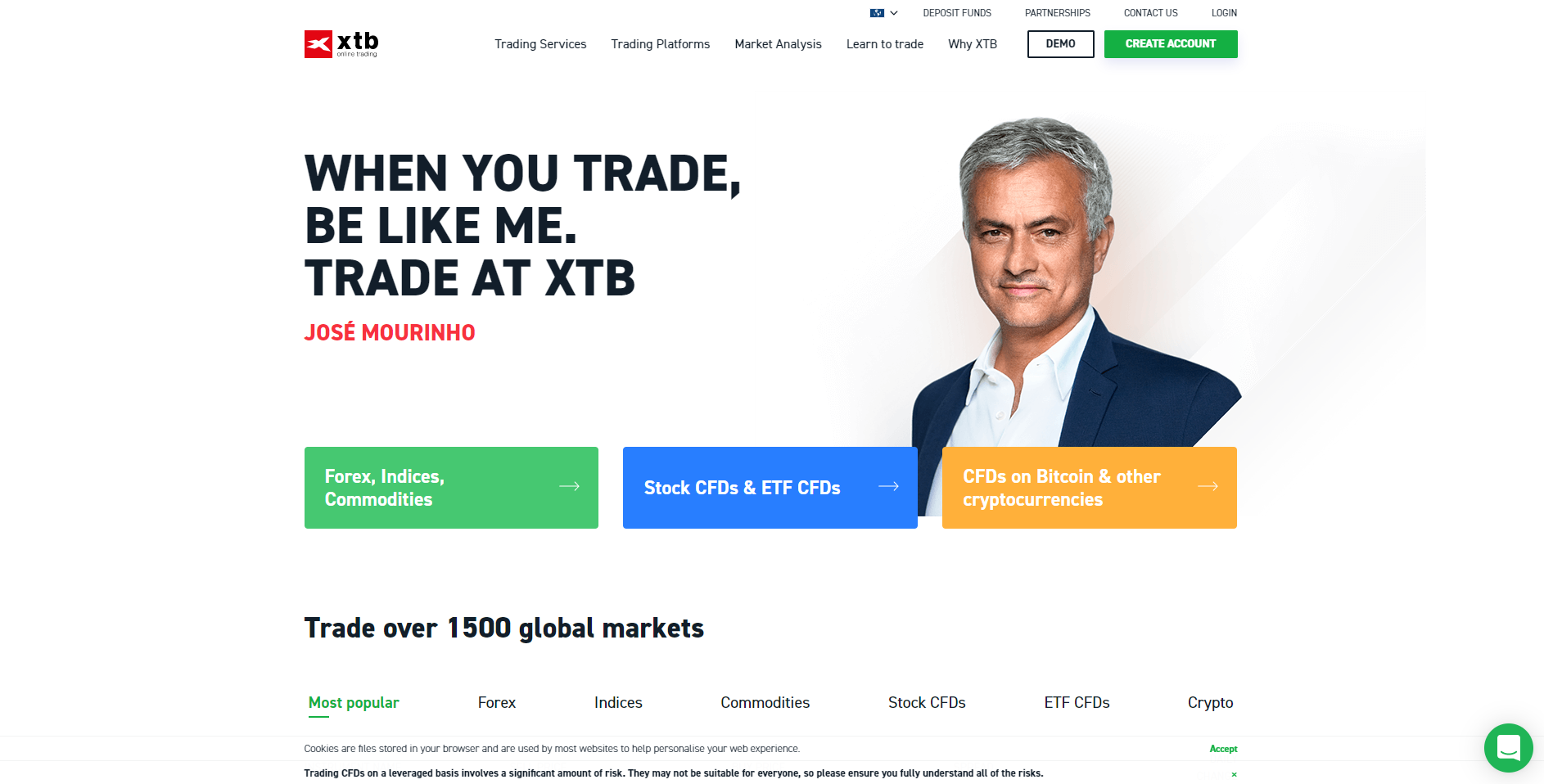 Official website of the forex platform XTB