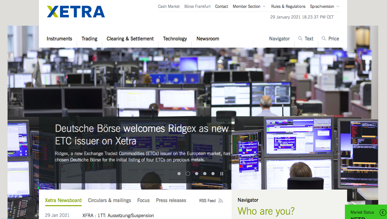 Xetra landing page