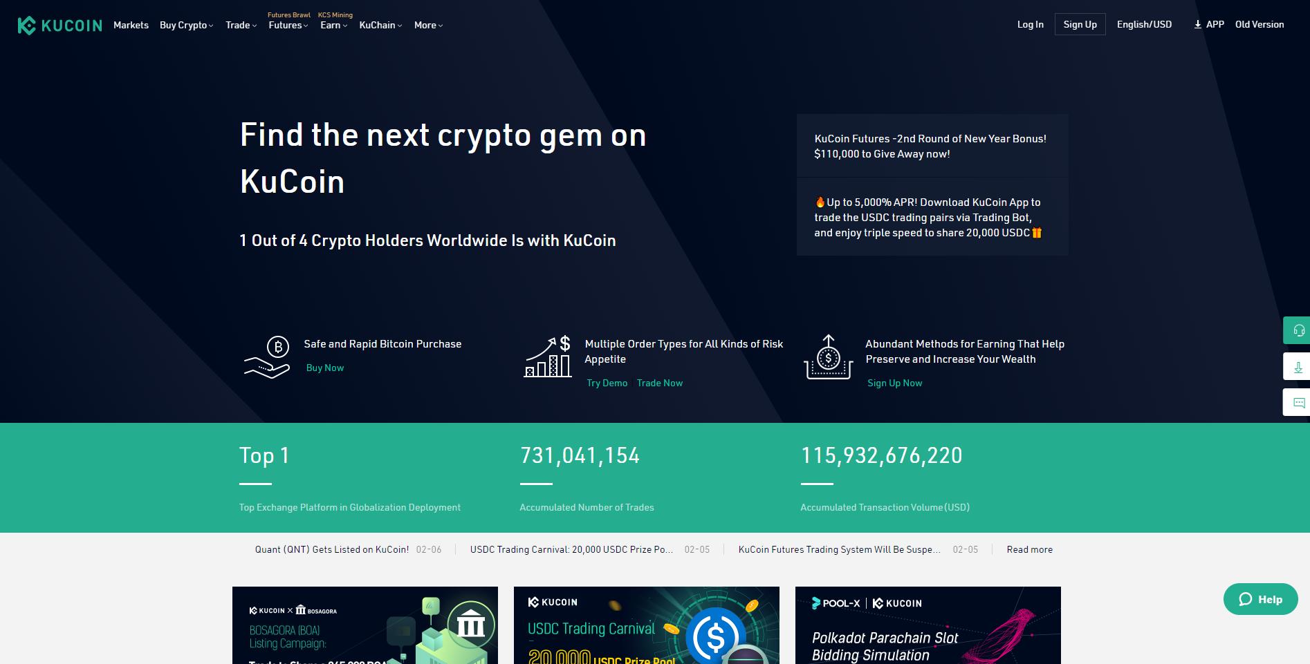 A KuCoin hivatalos weboldala