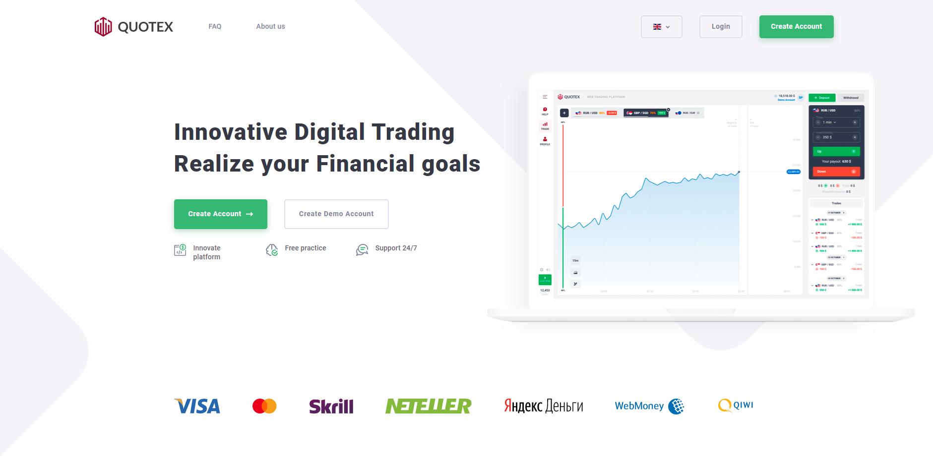 Quotex.io hivatalos honlapja